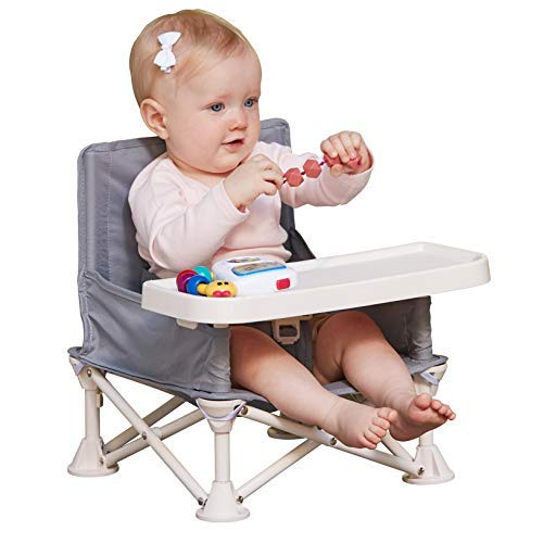 - hiccapop Omniboost Travel Booster Seat with Tray for Baby | Folding Portable High Chair for Eating, Camping, Beach, Lawn, Grandma's | Tip-Free Design Straps to Kitchen Chairs or Pop and Sit Anywhere