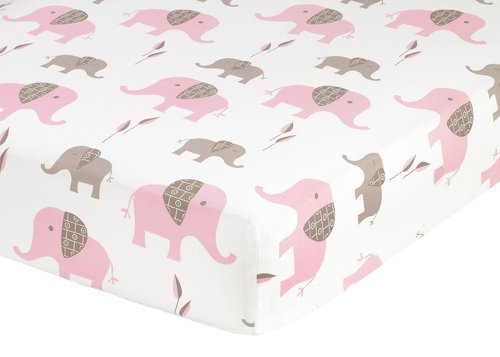 Sweet Jojo Designs Fitted Crib Sheet for Pink and Brown Elephant Baby/Toddler Bedding - Elephant Print