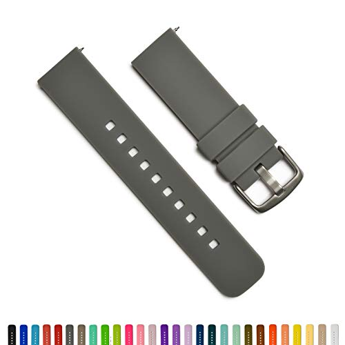 GadgetWraps 14mm Silicone Watch Band - 14mm Watch Band Silicone with Quick Release Watch Pins - Accessories for Men and Women 14mm Quick Release Watch Band with 29 Unique Colors (Gunmetal, 14mm)
