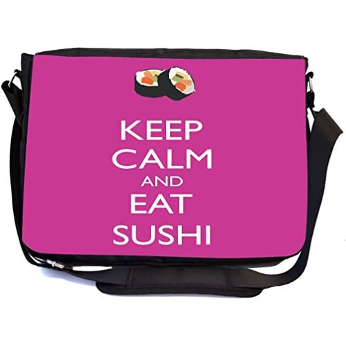 Rikki Knight Keep Calm and eat Sushi Rose Pink Color Design Multifunctional Messenger Bag - School Bag - Laptop Bag - with padded insert for School or Work - Includes UKBK Premium coin Purse