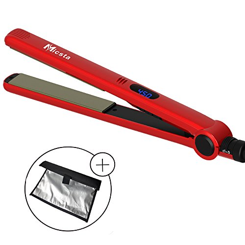 Micsta Nano Titanium Professional Flat Iron, Ceramic Heater Hair Straightener for Fast Styling Temperature Control High Heat, with Extra Long Floating Plate, LCD Display, Dual Voltage (1