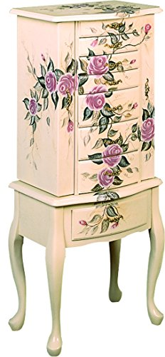 Hand Painted Jewelry Armoire Off White - Armoire Jewelry Floral