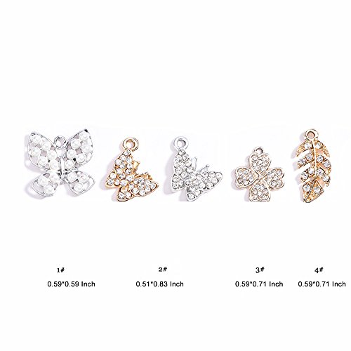 Duo Penguin (Pendants Accessories Butterfly and Four Leaf Clover DIY Metal Charms Jewelry Findings Making Accessory for Necklace Earrings Bracelet Jewelry Making and Crafting 5PCS)