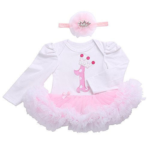 Smilsheep Baby Girls Dresses Pageant Tutu Formal Dress Embroidery Holiday Suit One Crown Long Sleeve 7-9Months/26-29''/18-21lb - Holiday Party Suits Dresses
