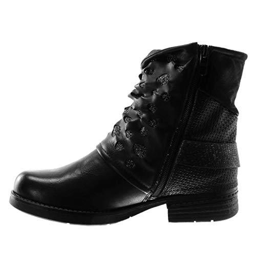Blockabsatz Glitzer String Schwarz Schleife Schuhe 3 Tanga Rock Stiefeletten Damen cm Kavalier Biker Angkorly Reitstiefel S0Px6zq