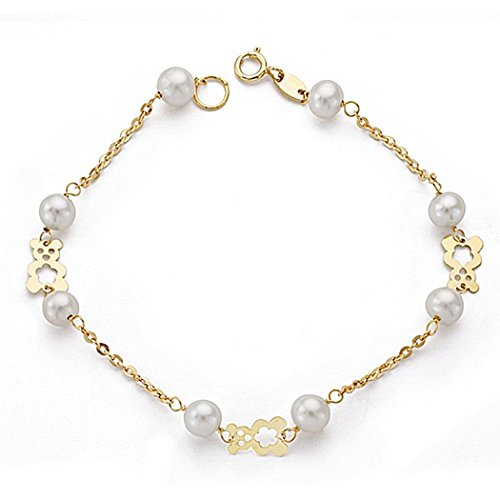 Bracelet 18k perles d'or et des ours en peluche 18.5cm communion. [9012]