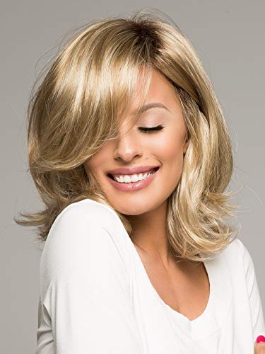 MILISI Long Blonde Wigs for White Women Brown Rooted Ombre Blonde Wavy Wigs Synthetic Full Hair Wigs with Wig Cap (Brown Rooted to Blonde) MLS036 -