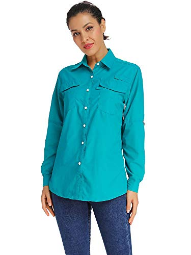 Womens Workwear Quick Dry Vented Sun Protection Long Sleeve Shirts, Hiking Fishing Sailing Blouse #5026-Blue,XL