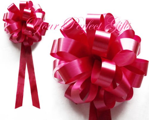 10 APPLE RED WEDDING 8'' PULL PEW BOWS BRIDAL DECORATION by your_perfect_gifts
