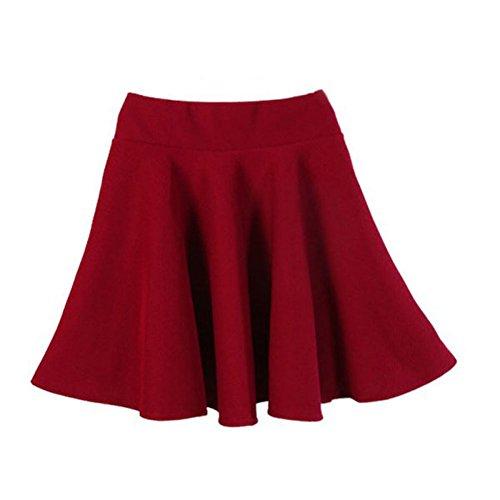 Weixinbuy Women's High Elastic Waist Cotton Pleated Mini Skirt Dark Red (Light Blue Pleated Skirt compare prices)