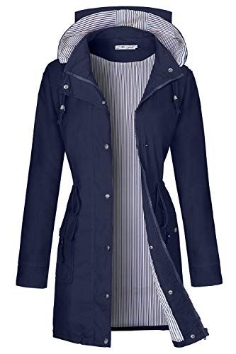 BBX Lephsnt Womens Waterproof Lightweight Windbreaker Raincoat Hooded Rain Jacket