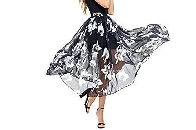 Abollria Women's Chiffon Elastic Waist Floor Length Full Ankle Blending Summer Beachwear Dress Long Maxi Skirt