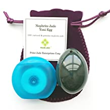 Nephrite Jade Egg, Medium, Drilled, with Unwaxed String and Instructons, for All Levels of Users For Yoni Massage, PC Muscles Trainiing, or as Beautiful Art to Display or Decoration, Genuine Jade