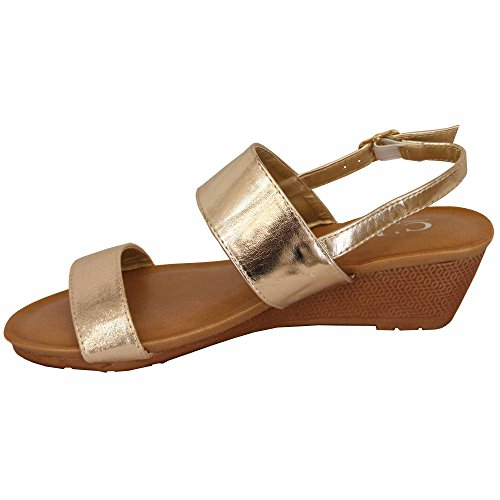 Moda Con Da Mcm Donna Oro Sandali Aperta 39924 Tacco Fibbia Slip On Scarpe Zeppa Punta Matrimonio 4v4Orx