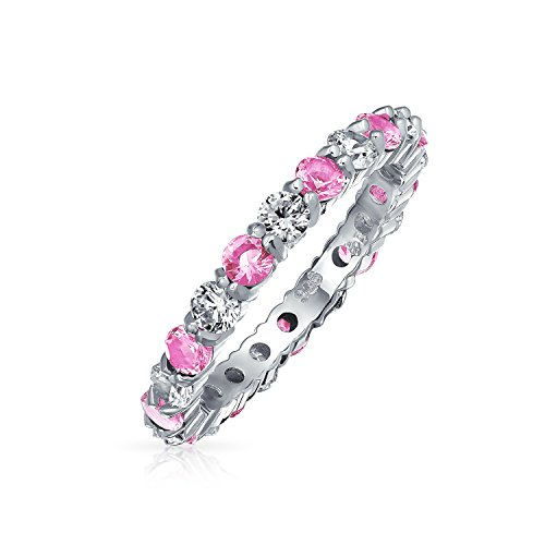 Cubic Zirconia Pink White Alternating Stackable CZ Eternity Ring For Women For Teen Simulated Topaz Sterling Silver