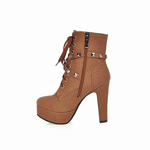 Heel Short Boots Womens Lace Foot High Charm Brown Chukka Platform Western Up C0nx8