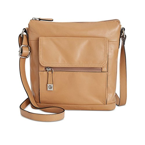 Giani Bernini Womens Leather Adjustable Crossbody Handbag Tan (Giani Bernini Purse)