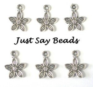 25 x Antique Silver Plated Flower Charms with Jump Ring included for attachments (Ref:10B11) by Just Say Beads