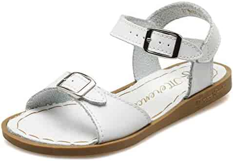 fb95812dd76 WALUCAN Girl s Leather Sandals Open-Toe Adjustable Flat Sandal Casual Shoes  Outdoor and Indoor (