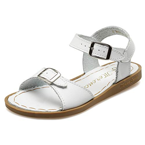 WALUCAN Girl's Leather Sandals Open-Toe Adjustable Flat Sandal Casual Shoes Outdoor and Indoor (Toddler/Little Kid/Big Kid/Women's) White