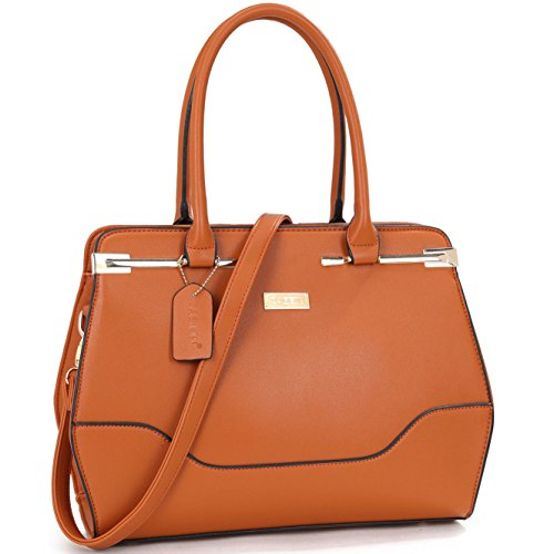 Structured Handle Purse Satchel Bag Shoulder Leather Vegan Fashion Zip Brown Crossbody Handbag Top BdwC0qxTT