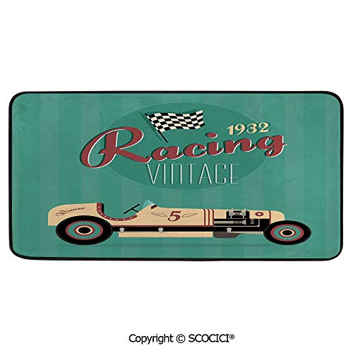 Rectangle Rugs for Bedside Fall Safety, Picnic, Art Project, Play Time, Crafts, Large Protective Mat, Thick Carpet,Cars,Poster Print of a Classic Vintage Automobile Nostalgia Rally,39