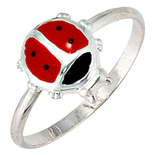 Jobo Juego de joyas Niños Mariquita 925plata colgante pendientes anillo 48Cadena 42cm