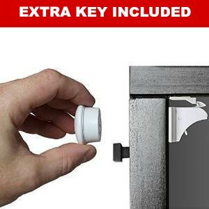 Magnetic Child Safety Cabinet Locks (4 Locks 2 Keys) Baby Proofing Your Cupboards & Drawers With The Safetyeffect Invisible Adhesive Lock, Install in Minutes, No Drilling Needed (New Design)