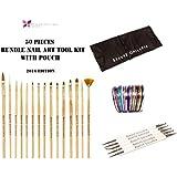 Beaute Galleria - 50pcs Bundle Nail Art Tool Kit: 5pcs Dotting Pen (10 Sizes) + 15pcs Acrylic Nail Art Design Painting Detailing Brushes + 30pcs Mixed Color Stripping Tapes