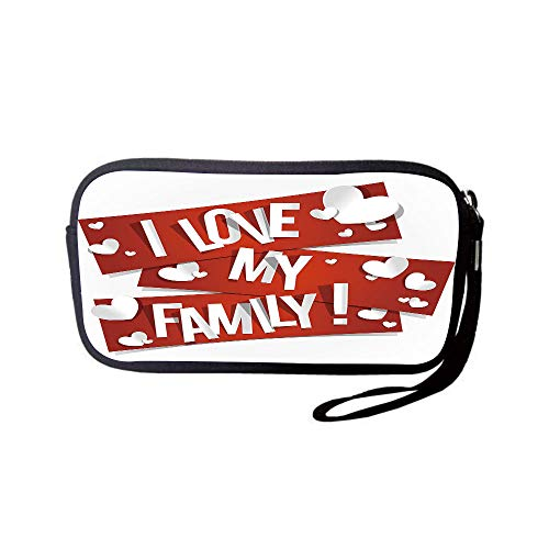 iPrint Neoprene Wristlet Wallet Bag,Coin Pouch,Family,Red Banners with Family Love Message and White Hearts Passionate Illustration,Red and White,for Women and Kids