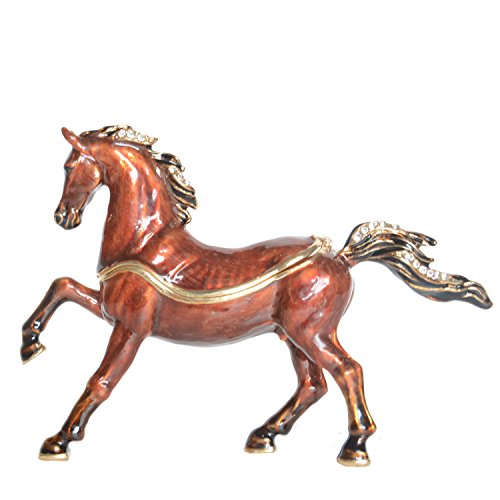 Jiaheyou Arabian Horse Enameled Pewter Jeweled Trinket Box Keepsake Box Pill Box Horse Figurine Gifts