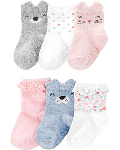Carter's Baby Girls' 6-Pack Socks Booties (12-24 Months, Pink/Grey Characters)