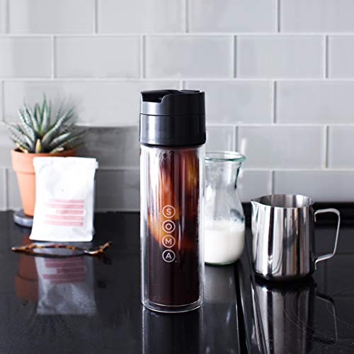 Soma Double Wall Glass Tea and Coffee Cold Brew Bottle, 12-ounce, Black by Soma (Image #4)
