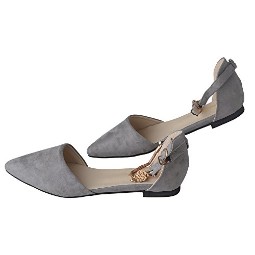 Spritech(TM) Women Girl Summer Flat Shoes Point Toe Faux Suede Upper Metal Closed Sandal Grey 38
