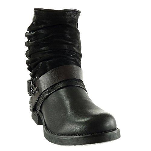 biker vintage Shoes cavalier thong Heel CM braided Angkorly Fashion boots Block Ankle studded Booty 5 Women's Black 2 style 08SWEqwY