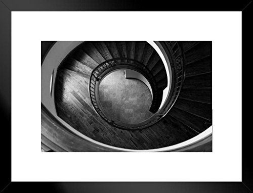 Poster Foundry Spiral Staircase Architectural Black and White Photo Art Print Matted Framed Wall Art 26x20 inch
