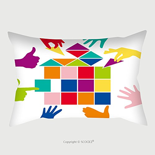 Custom Satin Pillowcase Protector Team Play With Colorful Pieces House Construction Work Social Games Mutual Aid Various 178460309 Pillow Case Covers Decorative by chaoran