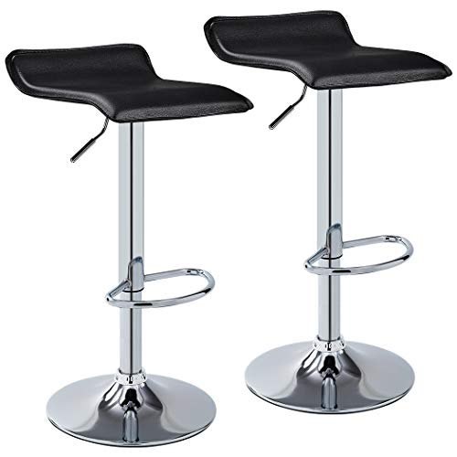 - Duhome 2 PCS Contemporary Counter Bar Stool Curved Swivel Adjustable Barstools (Black)