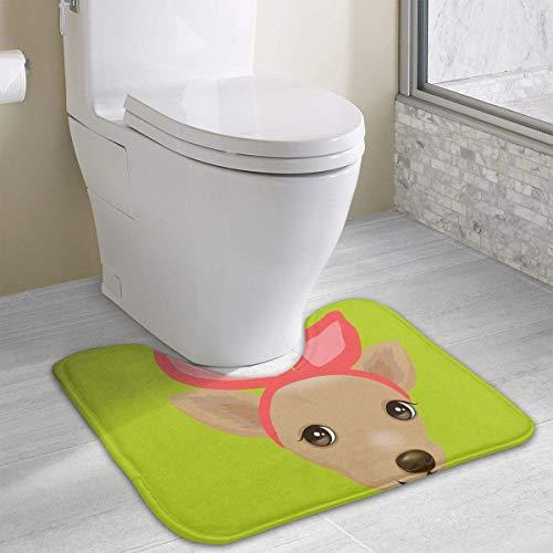 Dealbert Chihuahua with Bunny Ears Contour Bath Rugs,U-Shaped Bath Mats,Soft Memory Foam Bathroom Carpet,Nonslip Toilet Floor Mat 19.2″x15.7″