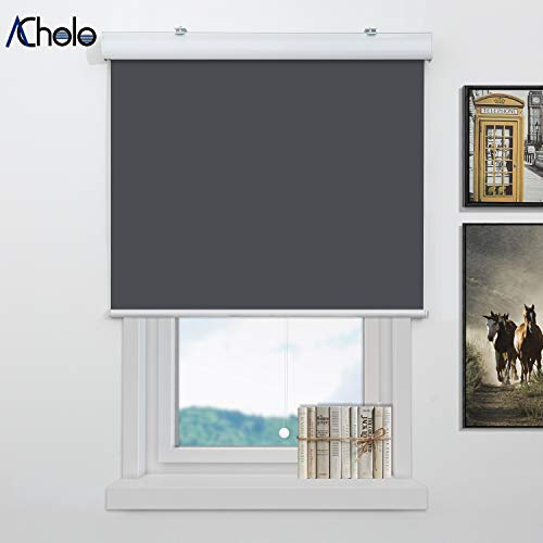 Acholo Blinds for Windows, Blackout Window Blinds and Shades for Home Bedroom Kitchen or Office, Cordless and Safe for Kids, Grey with Valance, W48 x H72 inch