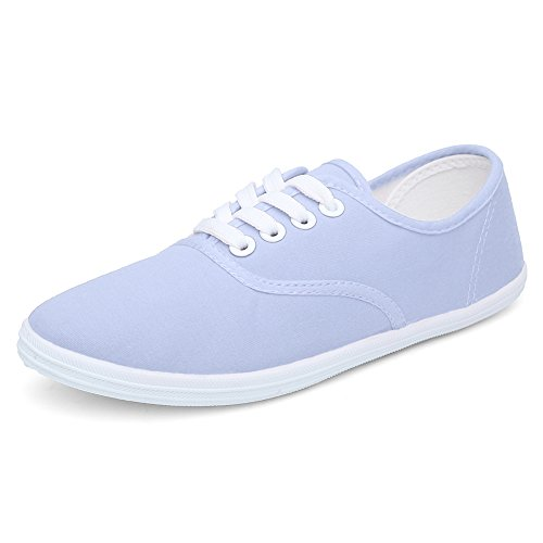 CIOR Women Lace up Canvas Shoes Casual Round Tote Classic Sneakers Original Lightweight Soft F.light Blue
