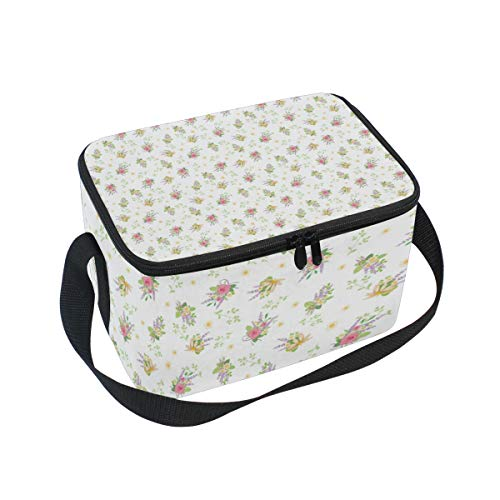Canvas Zipper Insulated Cooler Lunch Tote Pink Roses Bouquets Vintage Adjustable Shoulder Strap Lunch Bag ()