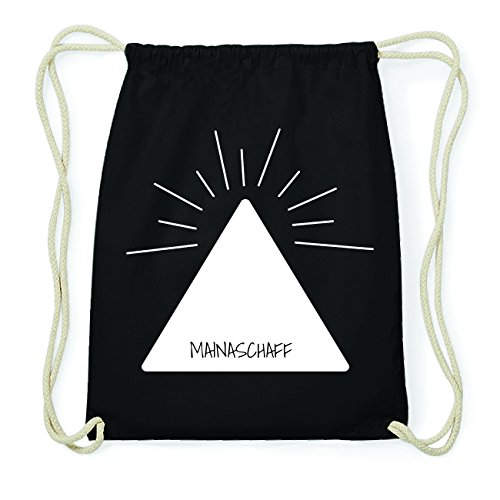 JOllify MAINASCHAFF Hipster Turnbeutel Tasche Rucksack aus Baumwolle - Farbe: schwarz Design: Pyramide ncUZF