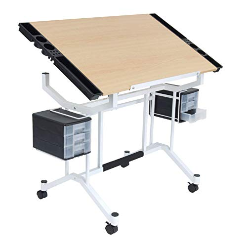 Studio Designs Pro Craft Station in White with Maple 13245 24' Wood Frame Markers