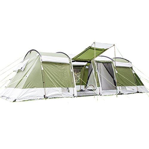 Skandika Montana 8 Personen Familien-Zelt grün, wasserdicht durch starke 5.000 mm Wassersäule. Großes, geräumiges und robustes Outdoor Camping-Zelt, Tunnel-Zelt mit 4 Schlaf-Kabinen, Insekten-Netzen und über 2 m Stehhöhe