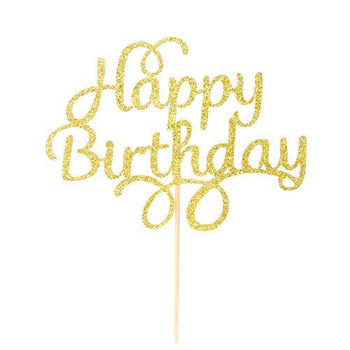 Happy Birthday Cake Topper - Gold Glitter First Birthday Party Decorations - Birthday Party Decorations for Adult/Children / Boys/Girls