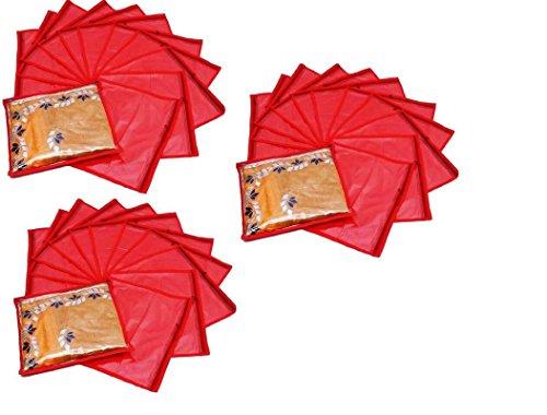Fashion Bizz Red Non Woven Saree Covers Bags Set of 36 Pcs