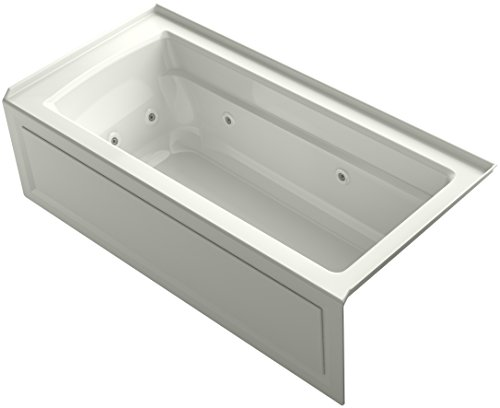 KOHLER K-1949-RA-NY Archer Exocyclic 66-Inch x 32-Inch Alcove Whirlpool Bath with Integral Apron, Tile Flange and Right-Hand Drain, Dune ()