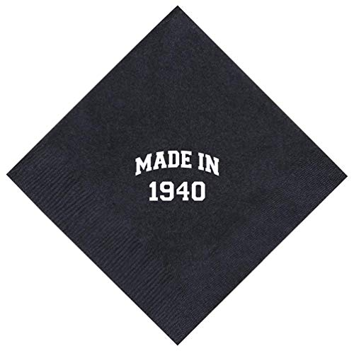 80th Birthday Gifts Made 1940 80th Birthday Gifts for Centenarians 50 Pack 5x5 Party Napkins Cocktail Napkins Black