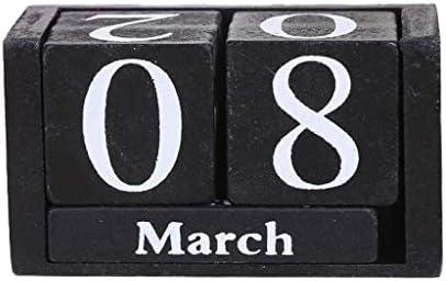 Tischkalender Kalendarien DIY Holz Kalender Wohnzimmer Wood Block Desktop Home Office-Dekoration Geschenke Wiederverwendbare (Color : Black)